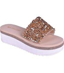 sandalias de plataforma con punta abierta rosa enrico coveri rlysa glitter