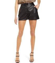 women's prosperity denim faux leather shorts