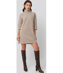trendyol mini knitted polo dress - beige