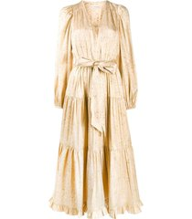 ulla johnson tiered belted midi dress - neutrals