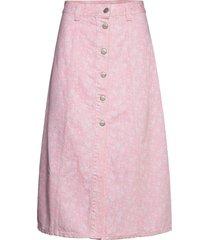 print denim knälång kjol rosa ganni