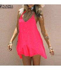 vestido de verano 2017 zanzea mujeres crochet backless beach party mini vestido sundress sexy hollow out tops largos blusas (rose) -gris