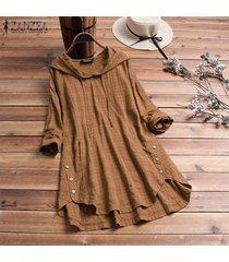 zanzea mujeres tela escocesa comprobar largo ocasional top de la camisa de la blusa asimétrica sudaderas con capucha plus -caqui