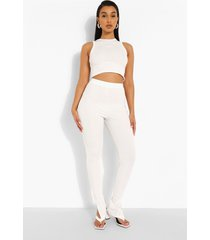 geribbelde broek met zijsplit, white