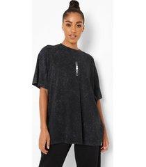oversized acid wash gebleekt t-shirt met opdruk, charcoal