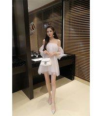 pf241 sweet off-should blouse, mini dress, gauze & cotton,free size, white