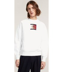tommy hilfiger men's crest embroidery crew neck sweater bright white - xl