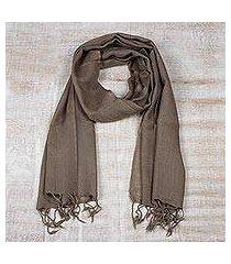 men's wool scarf, 'kashmiri taupe' (india)