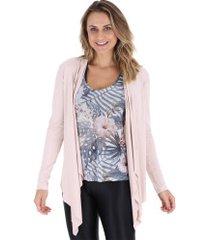 blusa cardigan manga longa vestem - feminina - rosa claro