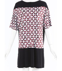 balenciaga printed knit dress black/red/geometric sz: s