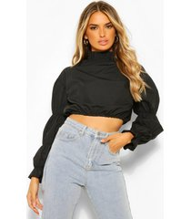 cotton poplin high neck puff sleeve blouse, black