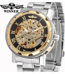 reloj winner automático hombre diseño skeleton – plateado con dorado