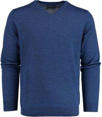 bos bright blue pullover 100% merinowol blauw 19105ar19/268 jeans blue