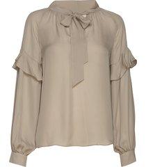 eloise silk blouse blus långärmad beige mayla stockholm