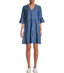 heroes & dreamers women's ruffled shift dress - medium wash - size s