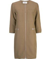 partow zip up dress - brown