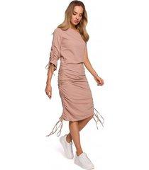 lange jurk moe m580 one shoulder ruched sides dress - mokka