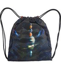 mochila saco cordinha alkary planetas preta
