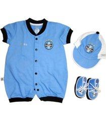 kit macacão reve d'or sport boné e sapatinho grêmio azul