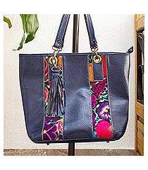 cotton accent leather tote, 'blue chiapas beauty' (mexico)