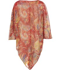 red silk poncho with paisley print