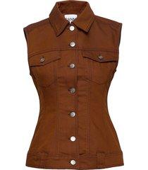 mixed denim vests knitted vests bruin ganni