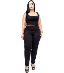 calça jeans feminina cambos plus size skinny letice preta - tricae