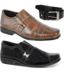 kit dois pares de sapato social infantil e um cinto leoppé - masculino