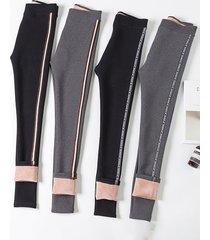 pantaloni a coste sottili elasticizzati in velluto caldo elasticizzato a strisce laterali