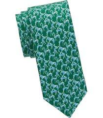 cartoon animal-print silk tie