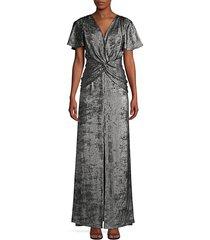 aidan mattox women's flutter-sleeve burn velvet a-line gown - silver black - size 2
