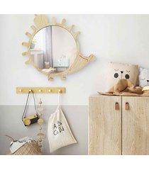 duże drewniane lustro jeżyk