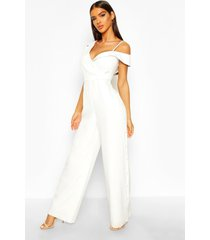tailored asymmetric sleeveless button detail jumpsuit, ivory