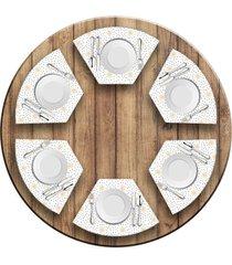 jogo americano love decor para mesa redonda wevans estrelas kit com 6 pçs