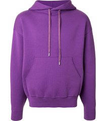 caban fine knit drawstring hoodie - purple