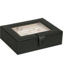mele co. cole glass top fashion jewelry box and ring case in textured black vegan leather
