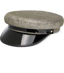 manokhi colour block military hat - gold