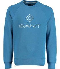 gant sweater lichtblauw met logo 2046062/449