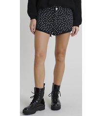 short de sarja feminino boy cintura média estampado floral barra dobrada preto