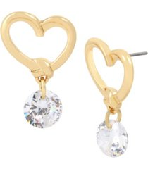jessica simpson heart stone drop earrings
