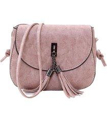 bolso mujer pequeño cuero pu adorno borla k064 rosado