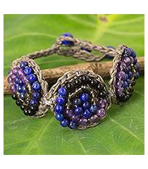 amethyst and lapis lazuli beaded bracelet, 'fascinate me' (thailand)