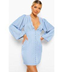chambray mini jurk met volle mouwen en knopen, mid blue