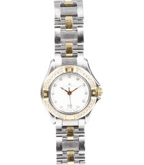 baume & mercier malibu 18k gold diamond watch silver/gold sz: