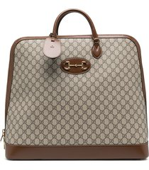 gucci gucci horsebit 1955 duffle bag - brown