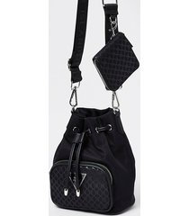 river island womens black ri monogram duffle bag with mini pouch
