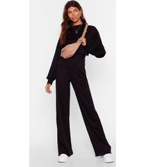 womens better two-gether ribbed crop top and pants set - black