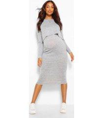 zwangerschap gebreide jurk met dubbele laagjes, grijs gemêleerd