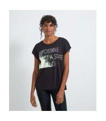 camiseta esportiva sem cava estampa frase | get over | preto | p