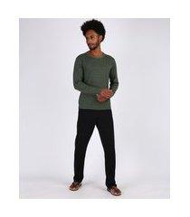 pijama masculino listrado manga longa verde